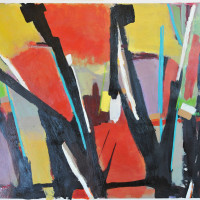 Forest-Fire-2-Oil-on-paper-32-x-42