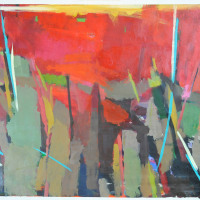 Forest-Fire-3-Oil-on-paper-32-x-42