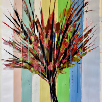 """Indian Tree, 1, oil on paper, 42"""" x 32"""""""