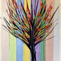 """Indian Tree 2, oil on paper, 42"""" x 32"""""""