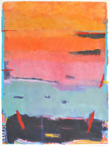 Sunset-over-Chowpatty-Beach-oil-on-paper-44-x-32